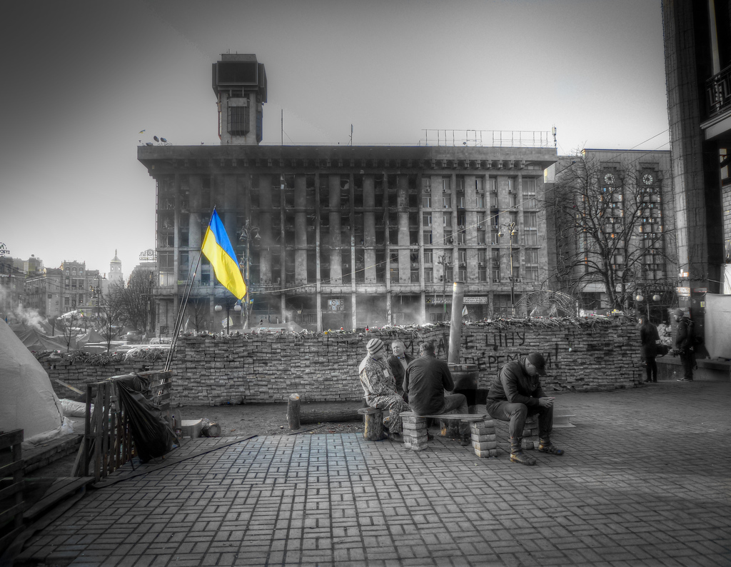 A Picture Of Black And White Uncertainty In The Heart Of Ukraine's Revolution