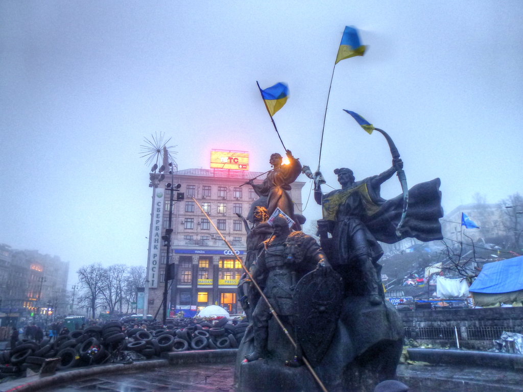 maidan statues kiev flags