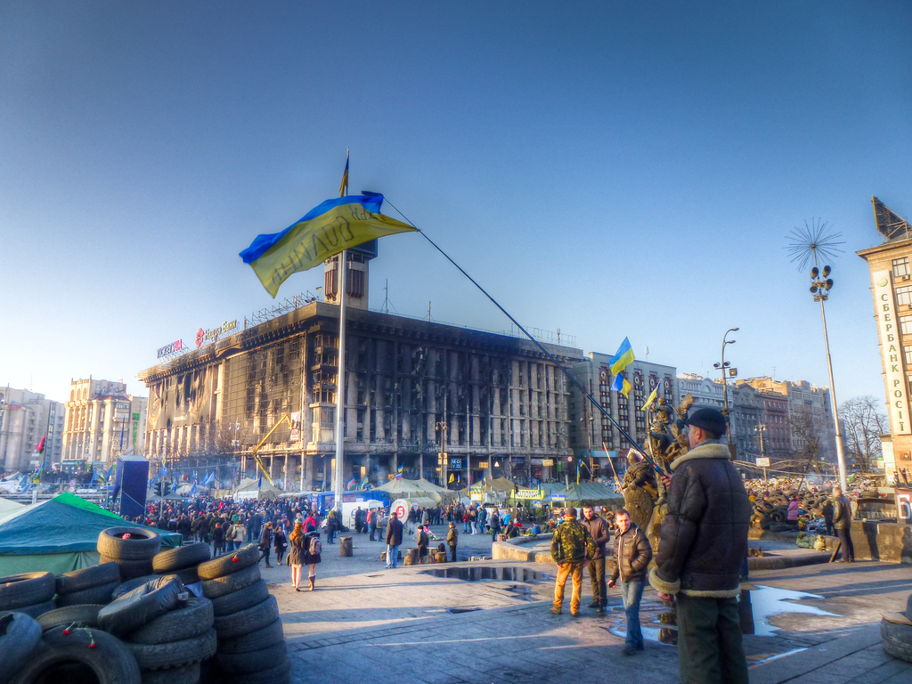kiev maidan ukrainian flag