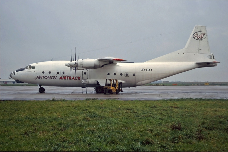 """UR-UAA Antonov An-12BP """"Antonov Airtrack"""" c/n 6344701 Maastricht-Aachen/EHBK/MST 25-11-96 (35mm slide)"""