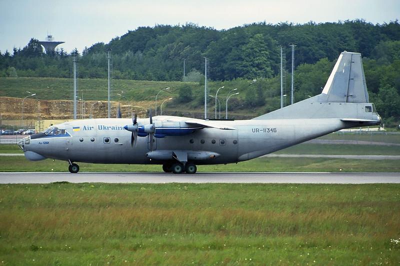 """UR-11346 Antonov An-12BK """"Air Ukraine"""" c/n 8345702 Luxembourg/ELLX/LUX 22-05-97 (35mm slide)"""