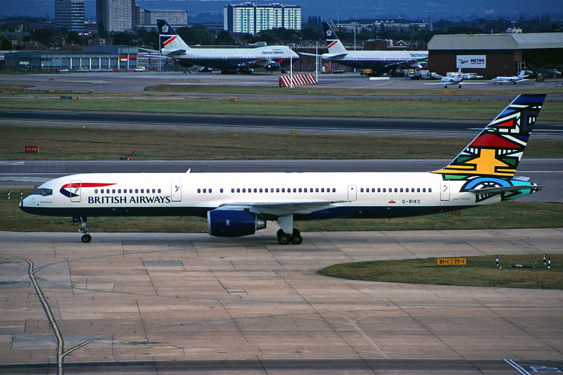 "G-BIKC Boeing 757-236 c/n 22174 Heathrow/EGLL/LHR 15-09-97 ""Emily Masanabo - South Africa"" (35mm slide)"