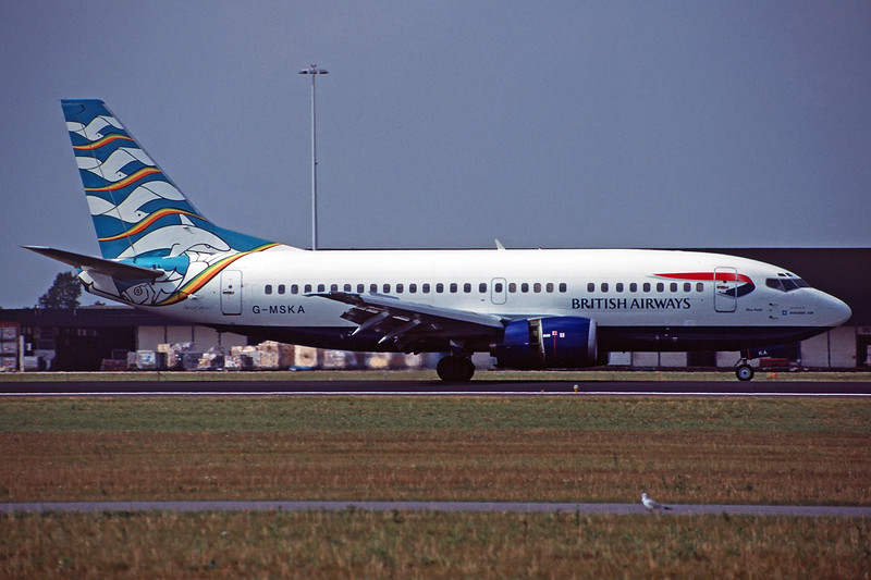 "G-MSKA Boeing 737-5L9 ""Maersk Air UK"" c/n 24859 Amsterdam/EHAM/AMS 16-08-97 ""Blue Pool"" (35mm slide)"