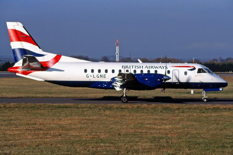 "G-LGNE SAAB SF.340B ""Loganair"" c/n 172 Glasgow/EGPF/GLA 07-11-03 ""British Airways"" (35mm slide)"