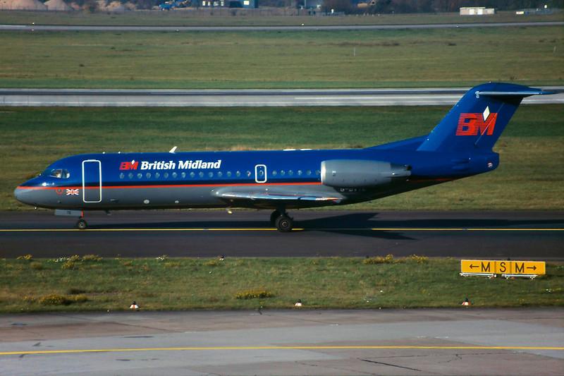 "G-BVTE Fokker 70 ""British Midland"" c/n 11538 Dussledorf/EDDL/DUS 13-11-99 (35mm slide)"