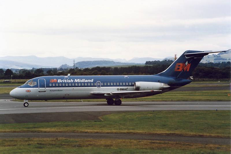 "G-BMAC Douglas DC-9-15 ""British Midland Airways"" c/n 45739 Glasgow/EGPF/GLA 14-09-93 (10x15cm print)"