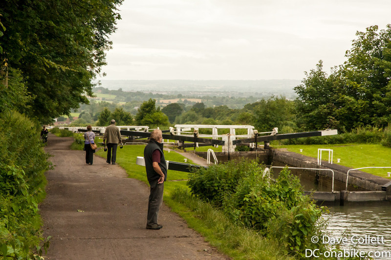 Top of Caen Hill Locks. The tow-path is really popular with walkers