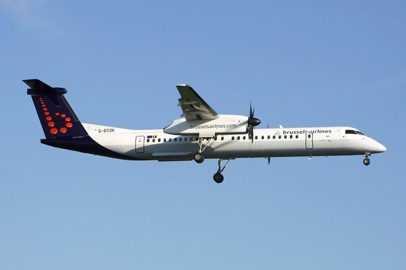 "G-ECOK de Havilland Canada DHC-8Q-402 ""Flybe"" c/n 4230 Brussels/EBBR/BRU 27-05-13 ""Brussels Airlines"""