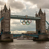 Tower Bridge with the Olympic Rings down