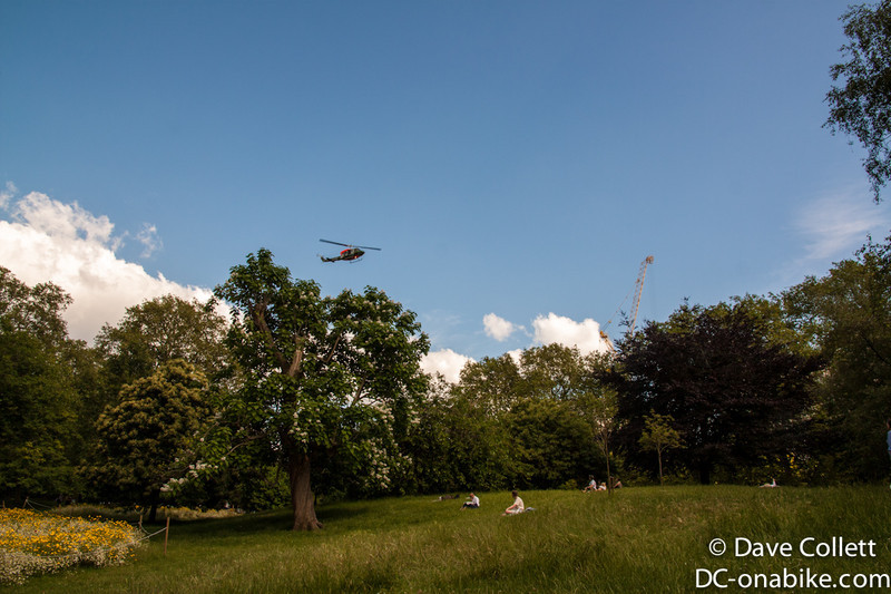 Helicopter coming in to land at the Wellington Barracks