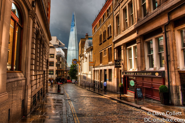 Street in The City with the Shard beyond