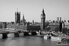 Westminster Bridge & Thames River B&W