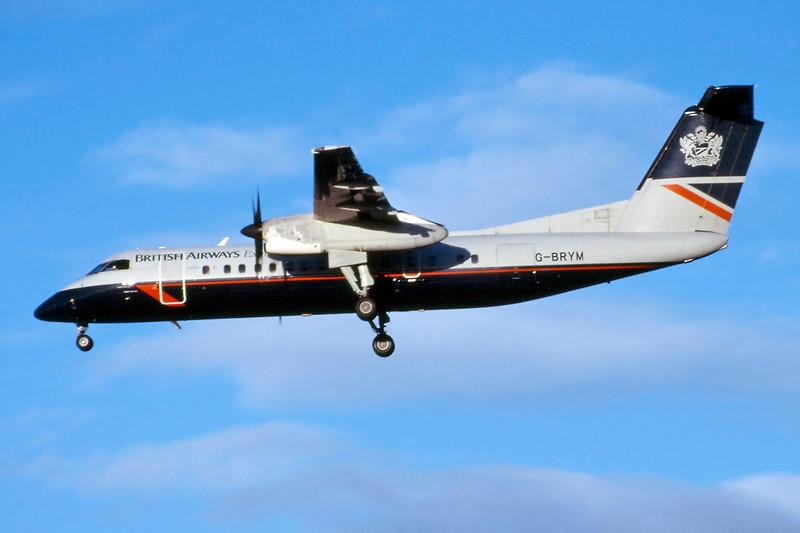 """G-BRYM de Havilland Canada DHC-8-311A """"Brymon Airways"""" c/n 305 Glasgow/EGPF/GLA 28-12-99 """"British Airways"""" (35mm slide)"""