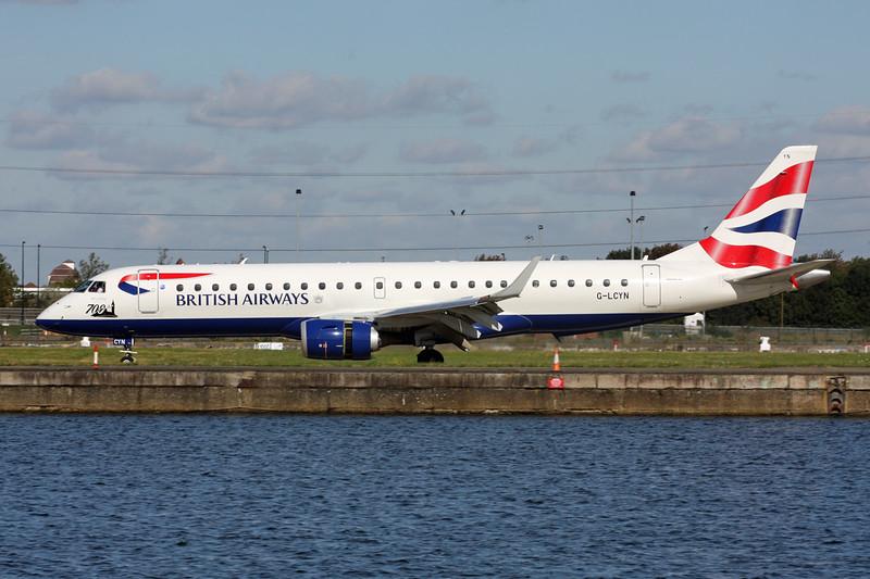 """G-LCYN Embraer Emb-190-100LR """"BA Cityflyer"""" c/n 19000392 London City/EGLC/LCY 23-09-15 """"700th"""""""