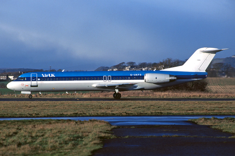 "G-UKFO Fokker 100 ""KLM Uk"" c/n 11271 Glasgow/EGPF/GLA 28-12-97 (35mm slide)"