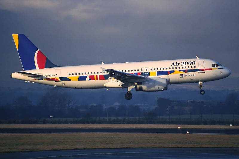 "G-OOAD Airbus A320-231 ""Air 2000"" c/n 0336 Glasgow/EGPF/GLA 28-12-96 (35mm slide)"