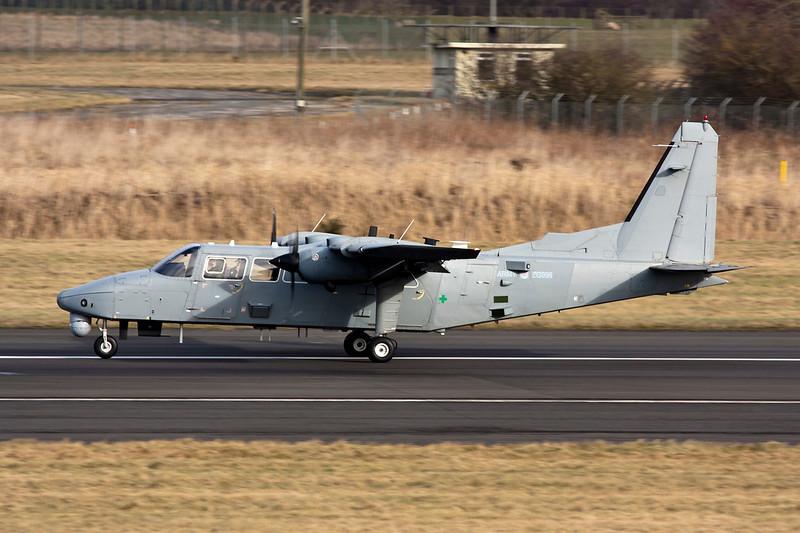 "ZG996 Britten-Norman BN-2T-4S Defender AL.1 ""Army Air Corps"" c/n 4010 Prestwick/EGPK/PIK 01-02-10"