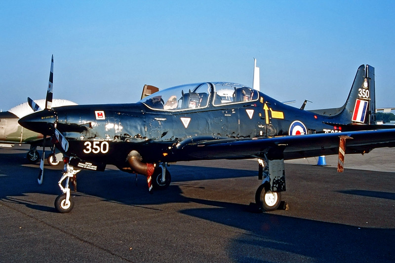 "ZF350 (350) Short Emb-312 T1 Tucano ""Royal Air Force"" c/n 185 Fairford/EGVA/FFD 25-07-99 (35mm slide)"