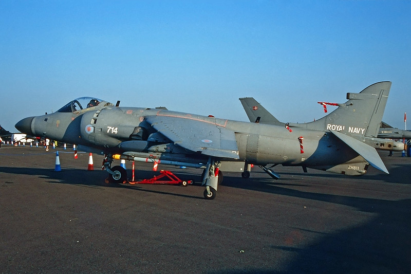 "ZH811 (714) British Aerospace Sea Harrier F/A .2 ""Royal Navy"" c/n NB16 Fairford/EGVA/FFD 25-07-99 (35mm slide)"
