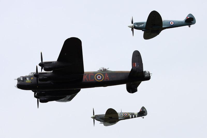 "PA474 (KC-A) Avro Lancaster B.I ""Royal Air Force"" c/n PA474 Gilze-Rijen/EHGR 20-06-14 ""BBMF"" including Spitfires PS915 & MK356"