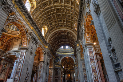 Inside the St Peter's Basilica in Vatican City, Rome, Italy