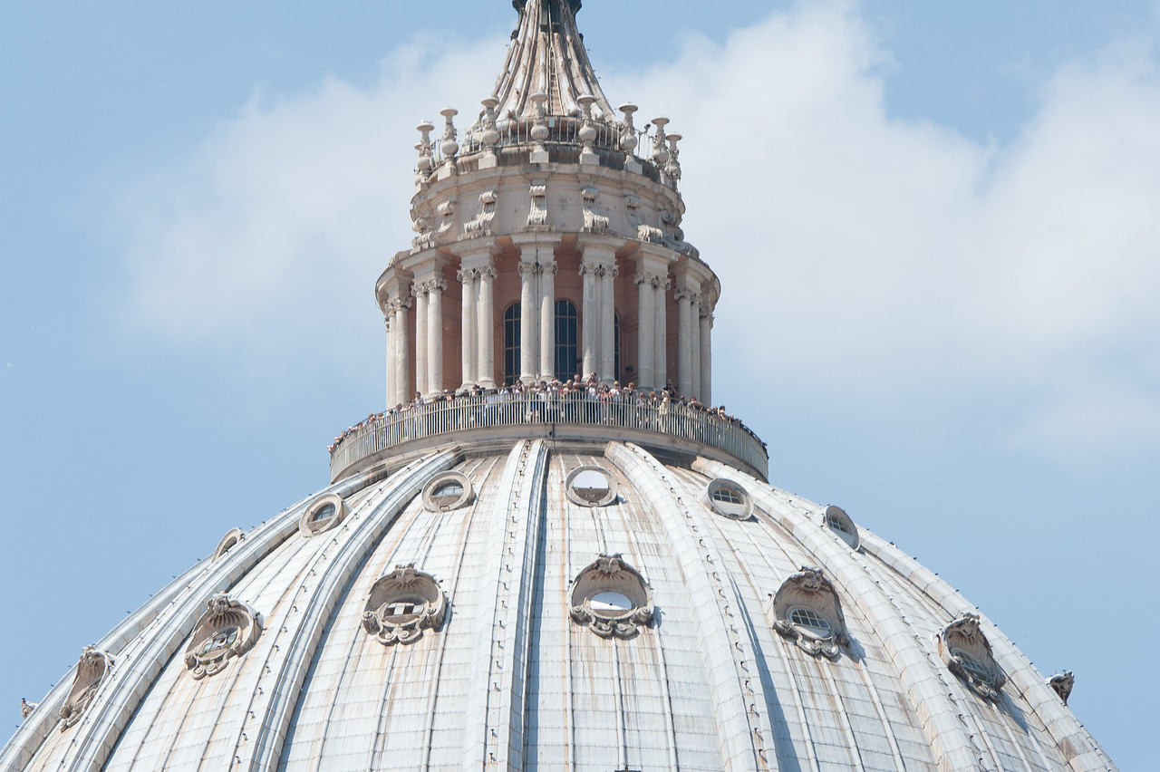 Tourists from the top of the St Peter's Basilica dome in Vatican City