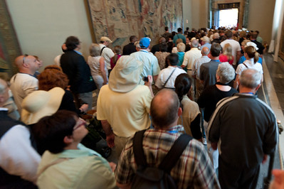 Long queue of artists entering the Vatican Museums in Rome, Italy