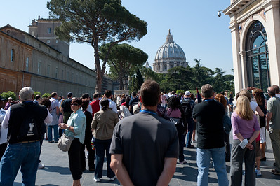 View of the St Peter's Basilica dome in Vatican City, Rome, Italy