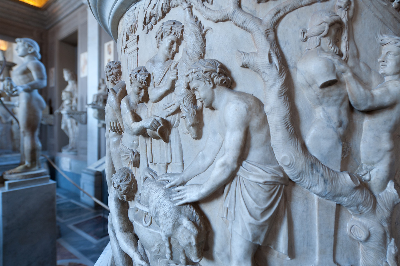 Relief on a Roman urn in Vatican Museums, Vatican City
