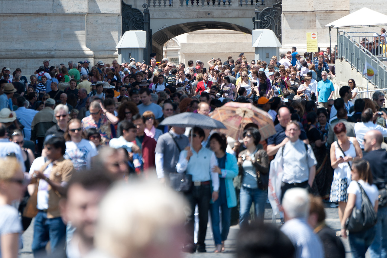 Shot of the tourists in St Peter's Square, Vatican City