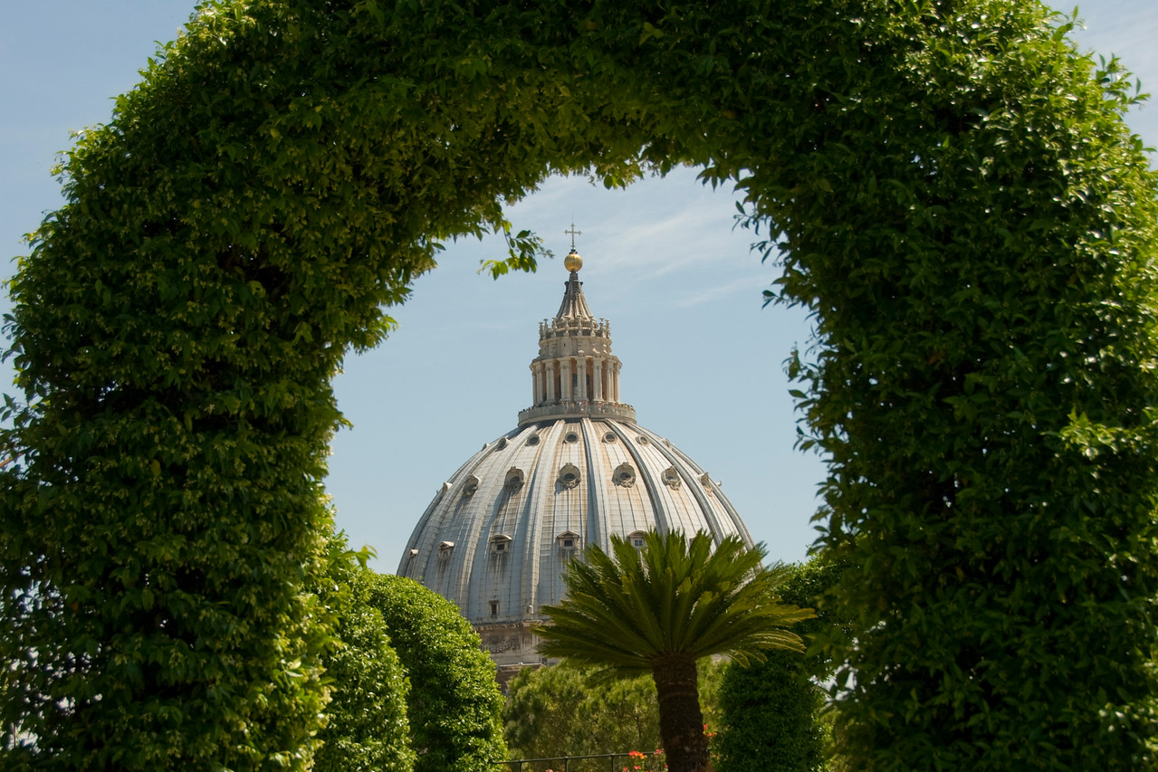 View of the St Peter's Basilica dome over hedges in Vatican City Gardens