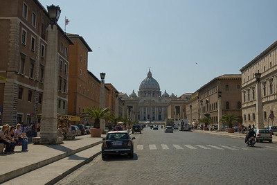 Street with a view of St Peter's Basilica in Vatican, Rome, Italy