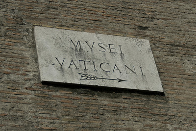 Sign outside Vatican Museum in Rome, Italy