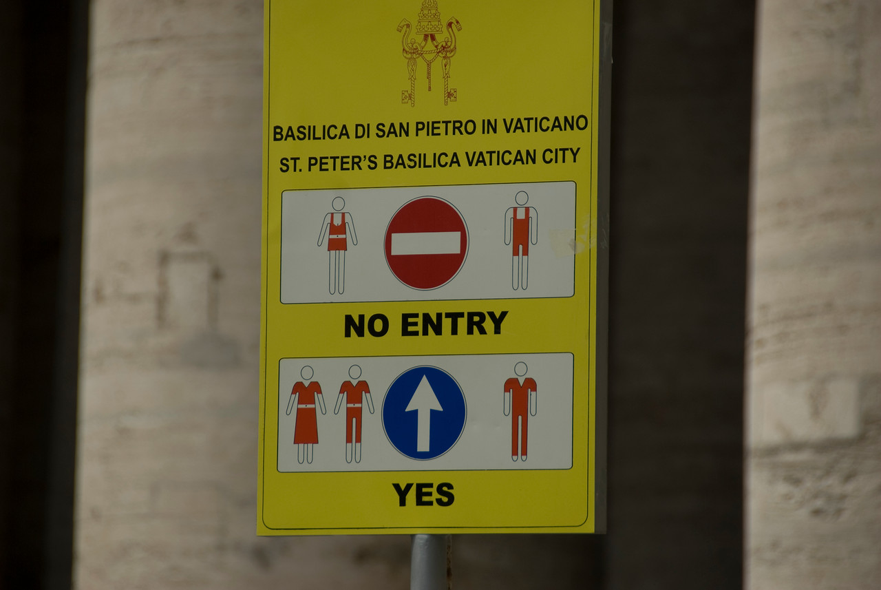 Dress code inside St Peter's Basilica in Rome, Italy