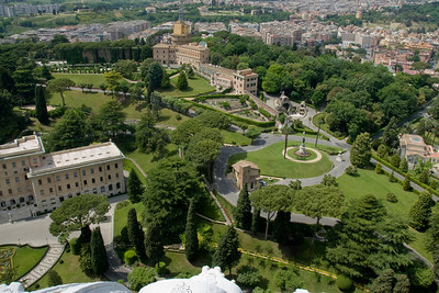 Aerial view of the Vatican City Gardens from St Peter's Basilica dome