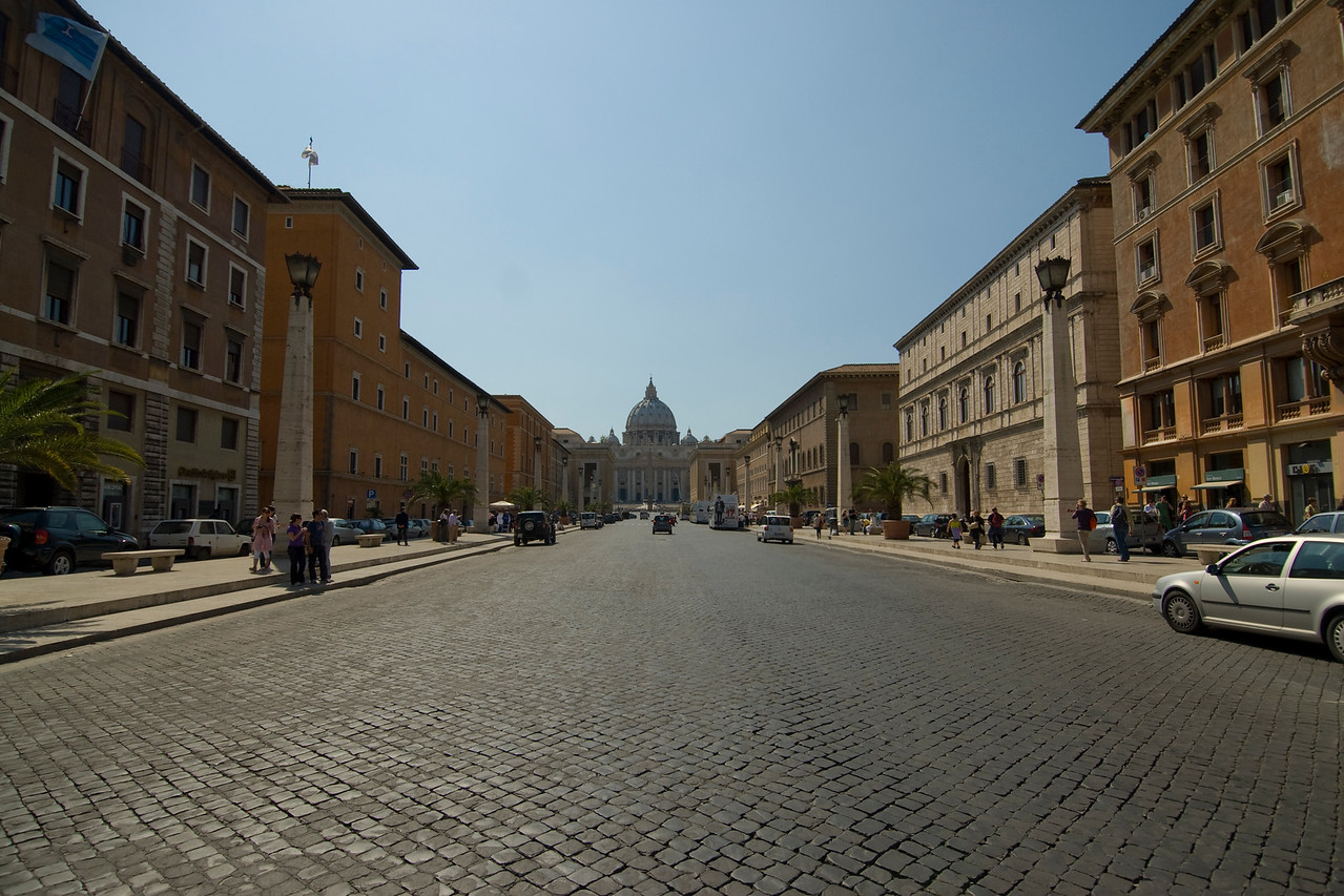View of St Peter's Basilica from street - Vatican, Rome, Italy
