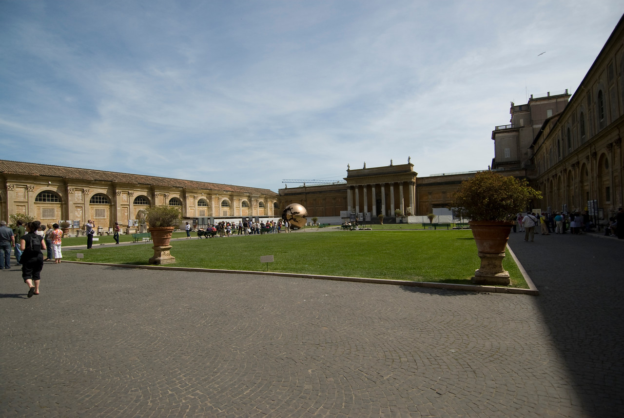 Panorama of square outside Vatican Museum in Rome, Italy