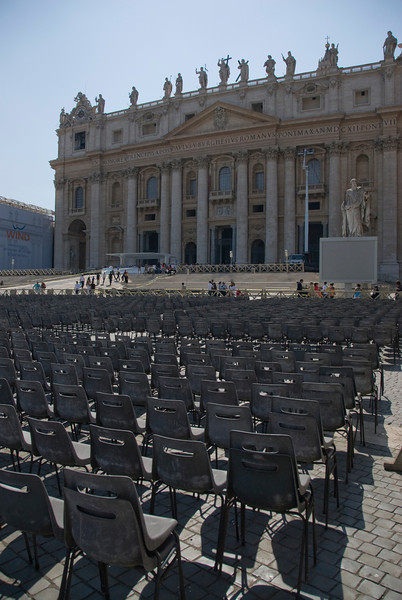 Seats in front of St Peter's Basilica in Vatican City