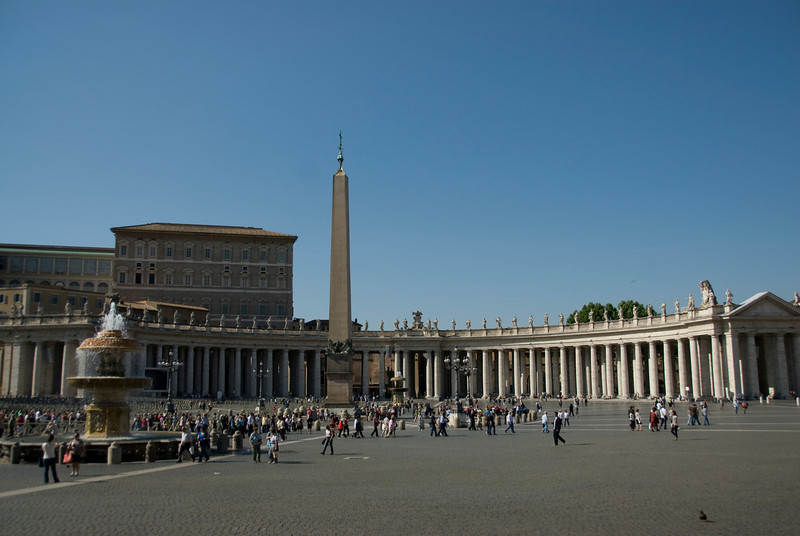 View of the obelisk and fountain in Apostolic Palace - Vatican City