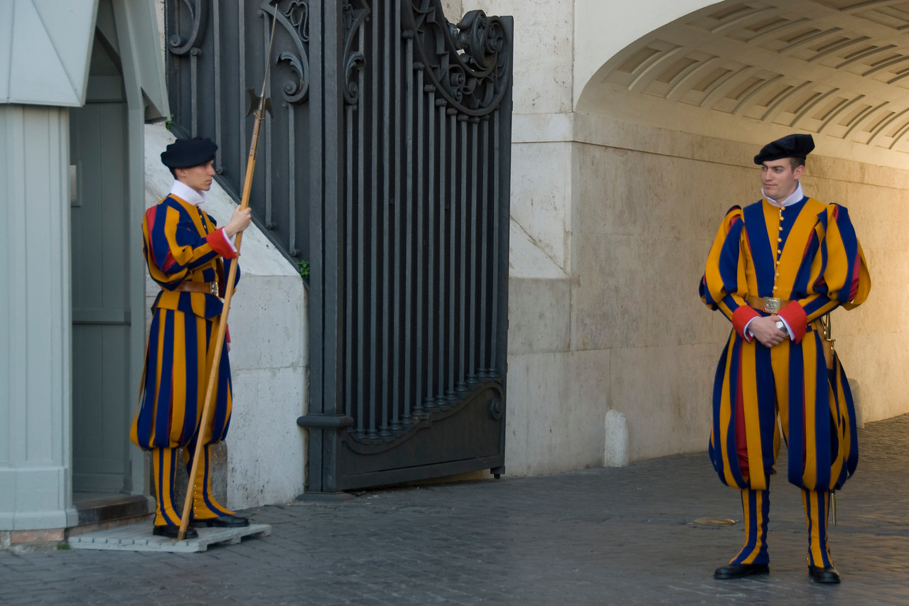 Swiss Guards at St Peter's Basilica in Vatican City