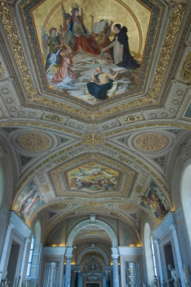 Looking up the ceiling of Vatican Museum in Rome, Italy