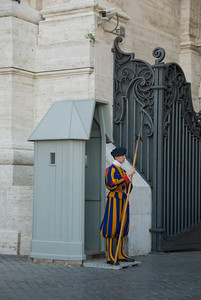 Swiss Guard at St Peter's Basilica in Vatican, Rome, Italy