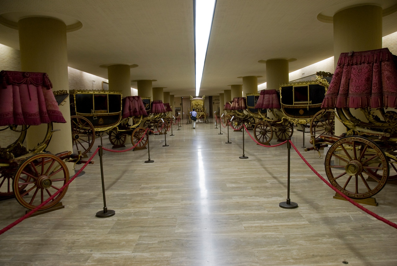 Horse carriage exhibit inside Vatican Museum in Rome, Italy