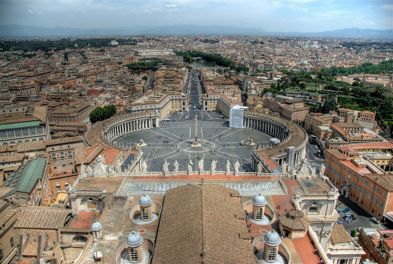 View of St. Peter's Square from the top of Michelangelo's dome - Vatican City