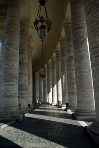 Inside the columns of the Apostolic Palace in Vatican City