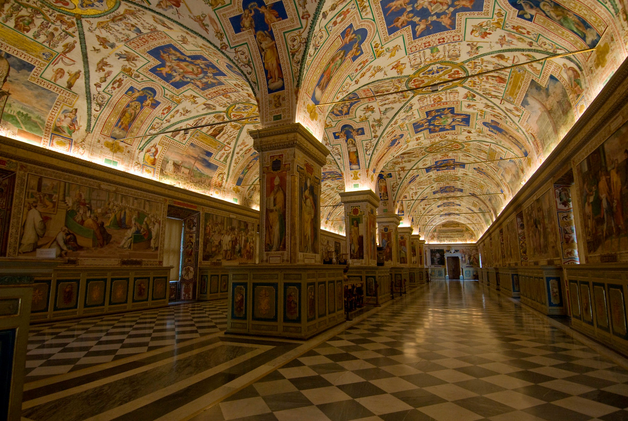 The hallway inside Vatican Museums in Rome, Italy