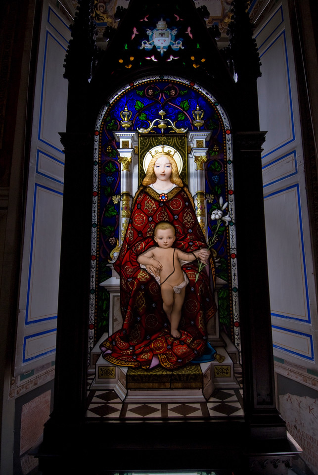 Stained glass image of Mother and Child in Vatican Museums