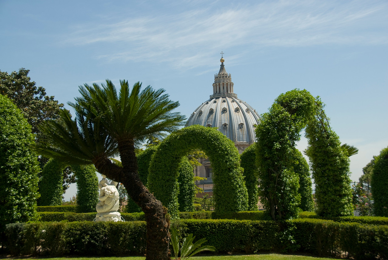 View of the St Peter's Basilica dome in Vatican City Gardens