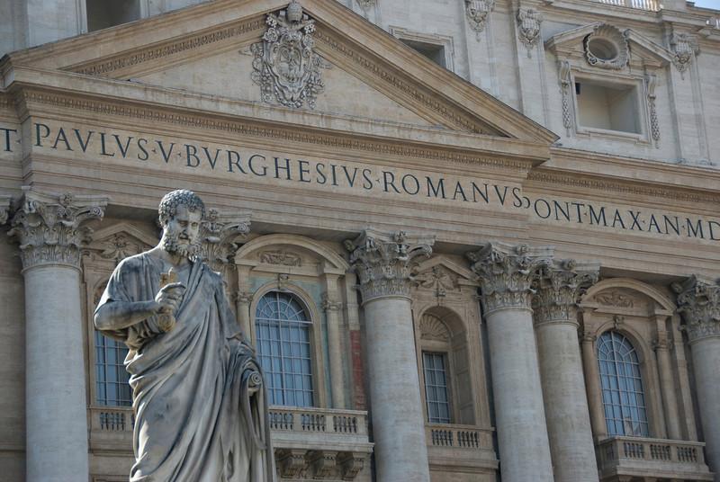 Giuseppe De Fabris's Statue of St. Peter in front of St. Peter's Basilica - Vatican