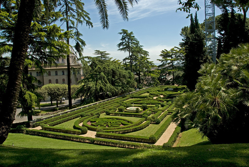 Geometric shaped hedges in the Vatican City Gardens - Rome, Italy
